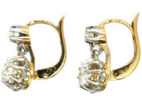 French Belle Epoque 18ct White & Yellow Gold Diamond Drop Earrings
