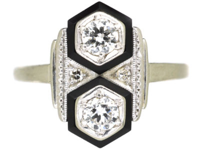 Art Deco 14ct White Gold, Onyx & Diamond Geometric Ring