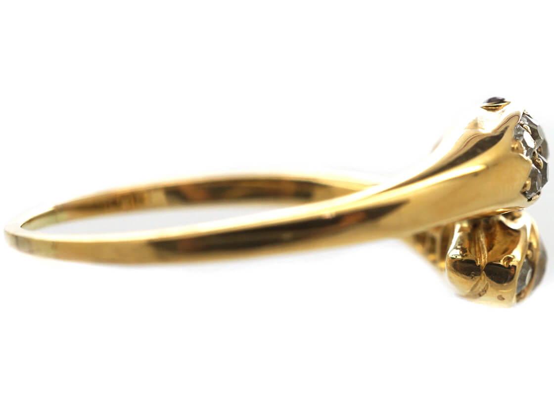 Edwardian 18ct Gold & Diamond Double Snake Ring