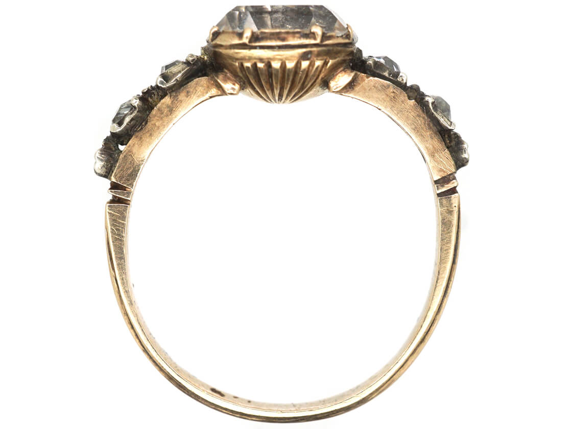 Georgian Gold Stuart Crystal Ring with Gold Thread Detail