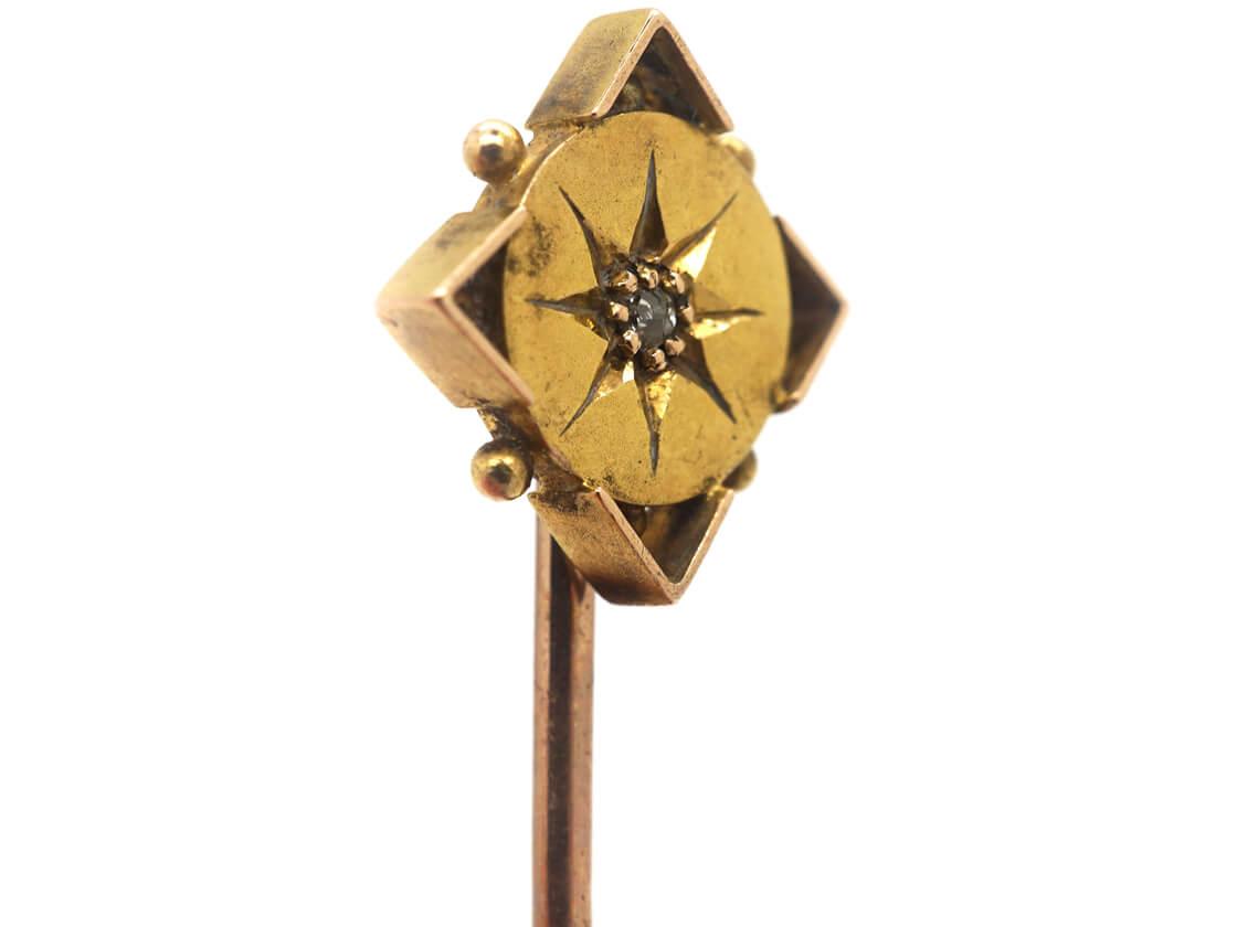 Victorian 15ct Gold Diamond Shaped Tie Pin set with a Diamond