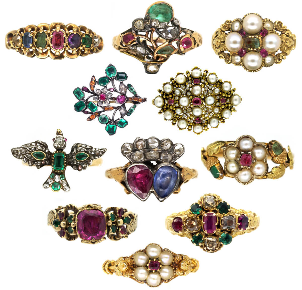 Georgian gemstone rings