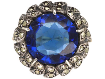 Art Deco Marcasite & Blue Paste Ring