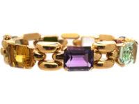 Retro 18ct Gold Multi Gem Bracelet