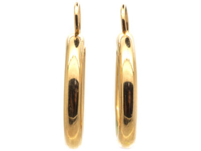 Edwardian 15ct Gold Oval Hoop Earrings
