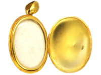 Victorian 18ct Gold & Turquoise Horseshoe Oval Locket by Edwin William Streeter