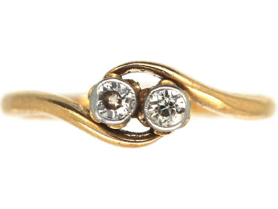 Edwardian 18ct Gold & Platinum Two Stone Diamond Twist Ring