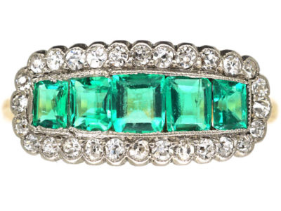 Edwardian 18ct Gold & Platinum Five Stone Emerald & Diamond Ring