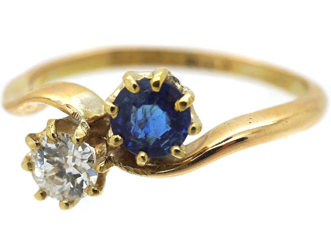 Edwardian 18ct Gold Sapphire & Diamond Twist Ring