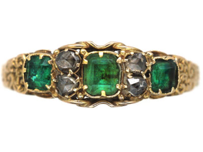 Regency 15ct Gold Three Stone Emerald & Rose Diamond Ring