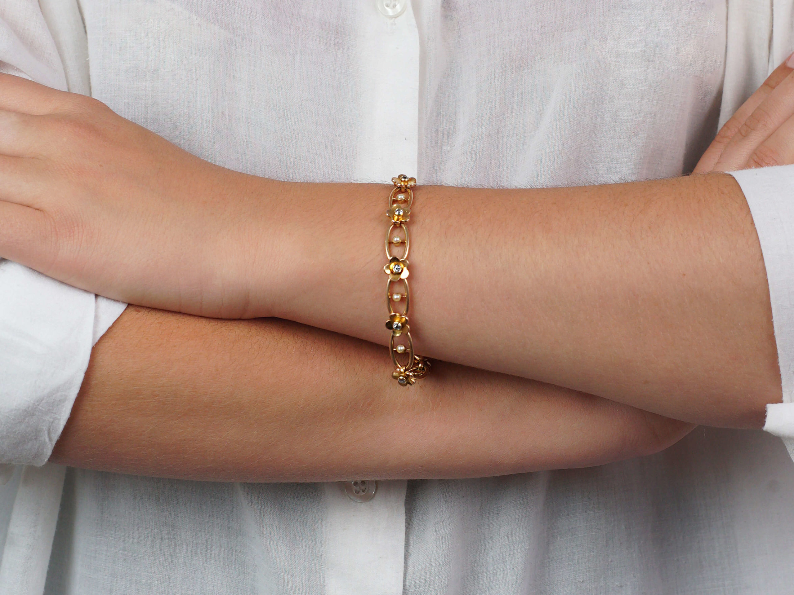 Edwardian 18ct Gold, Diamond & Natural Split Pearl Bracelet