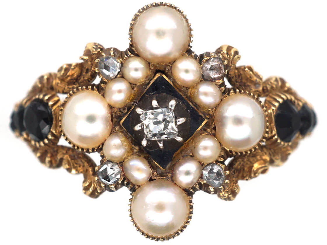 Georgian 18ct Gold, Diamond, Natural Split Pearl & Vauxhall Glass Ring