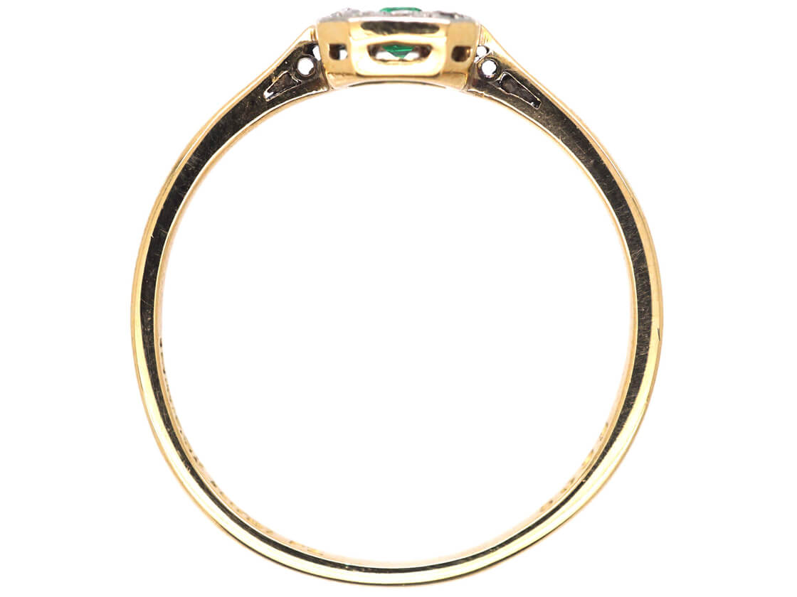 Art Deco 18ct Gold & Platinum Emerald & Diamond Rectangular Ring