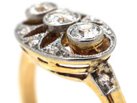 Art Deco 14ct Gold & Platinum Pierced Design Three Stone Diamond Ring