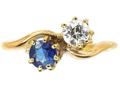 Edwardian 18ct Gold Sapphire & Diamond Twist Ring