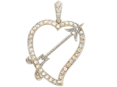 Edwardian 18ct Gold & Platinum & Diamond Heart & Arrow Pendant