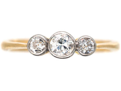 Edwardian 18ct Gold & Platinum Three Stone Diamond Ring