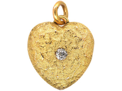 Edwardian 15ct Gold & Diamond Heart Shaped Locket