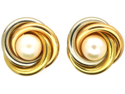 18ct Three Colour Gold & Cultured Pearl Earrings