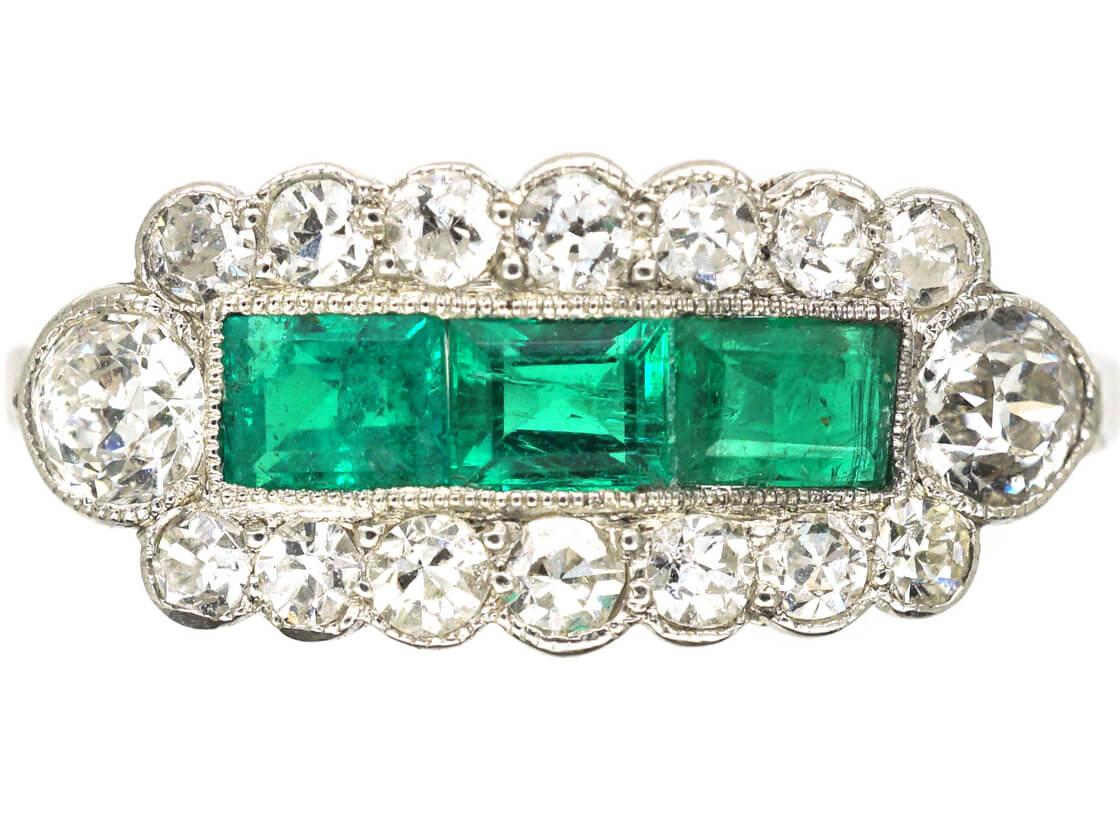 Art Deco Platinum Three Stone Emerald & Diamond Ring