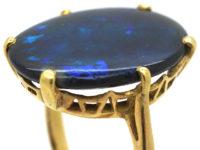 Art Deco 18ct Gold & Large Black Opal Ring