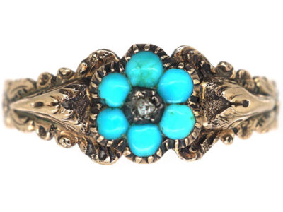 Georgian Turquoise Forget Me Not Ring