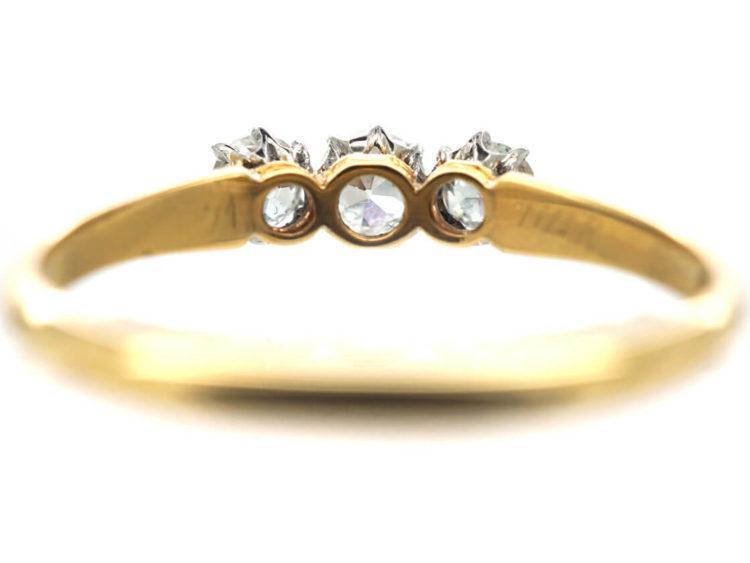 Edwardian 18ct Gold & Platinum Three Stone Diamond Ring