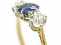 Art Deco 18ct Gold & Platinum, Diamond & Sapphire Three Stone Ring