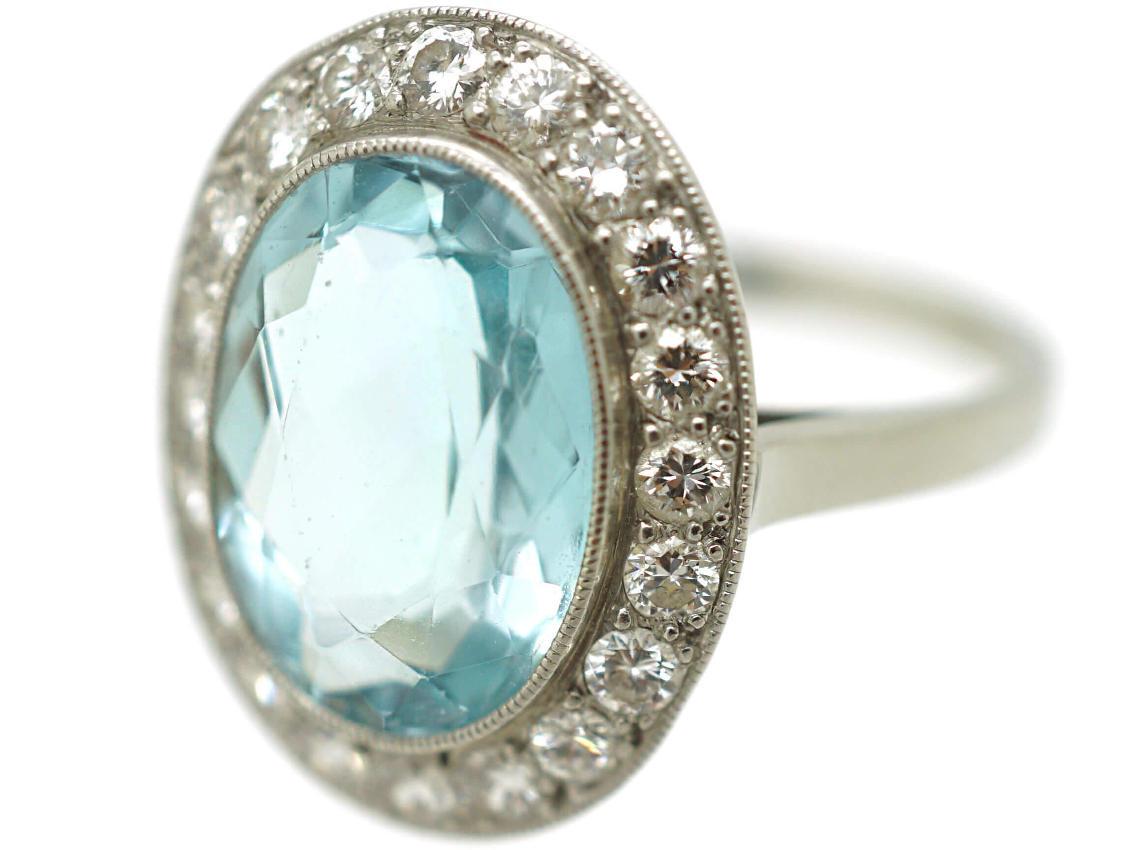 18ct White Gold, Aquamarine & Diamond Oval Cluster Ring