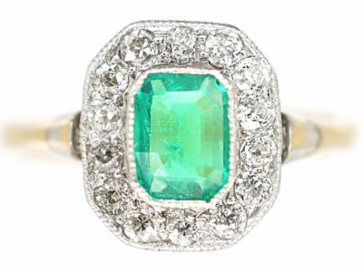 Art Deco 18ct Gold & Platinum, Emerald & Diamond Octagonal Shaped Ring