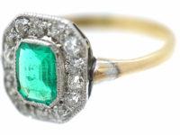 Art Deco 18ct Gold & Platinum, Emerald & Diamond Octagonal Shaped Ring