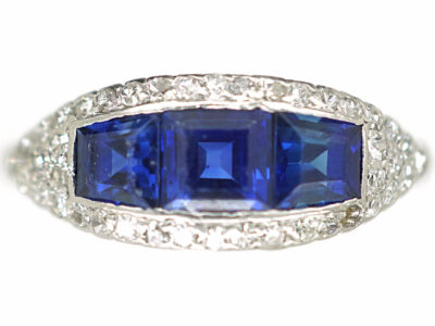 Art Deco Platinum, Three Stone Square Cut Sapphire & Diamond Boat Shaped Ring
