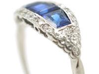 Art Deco Platinum, Three Stone Square Cut Sapphire & Diamond Boat Shaped Ring