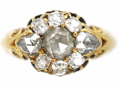 Victorian 18ct Gold Rose Diamond & Old Mine Cut Diamond Cluster Ring