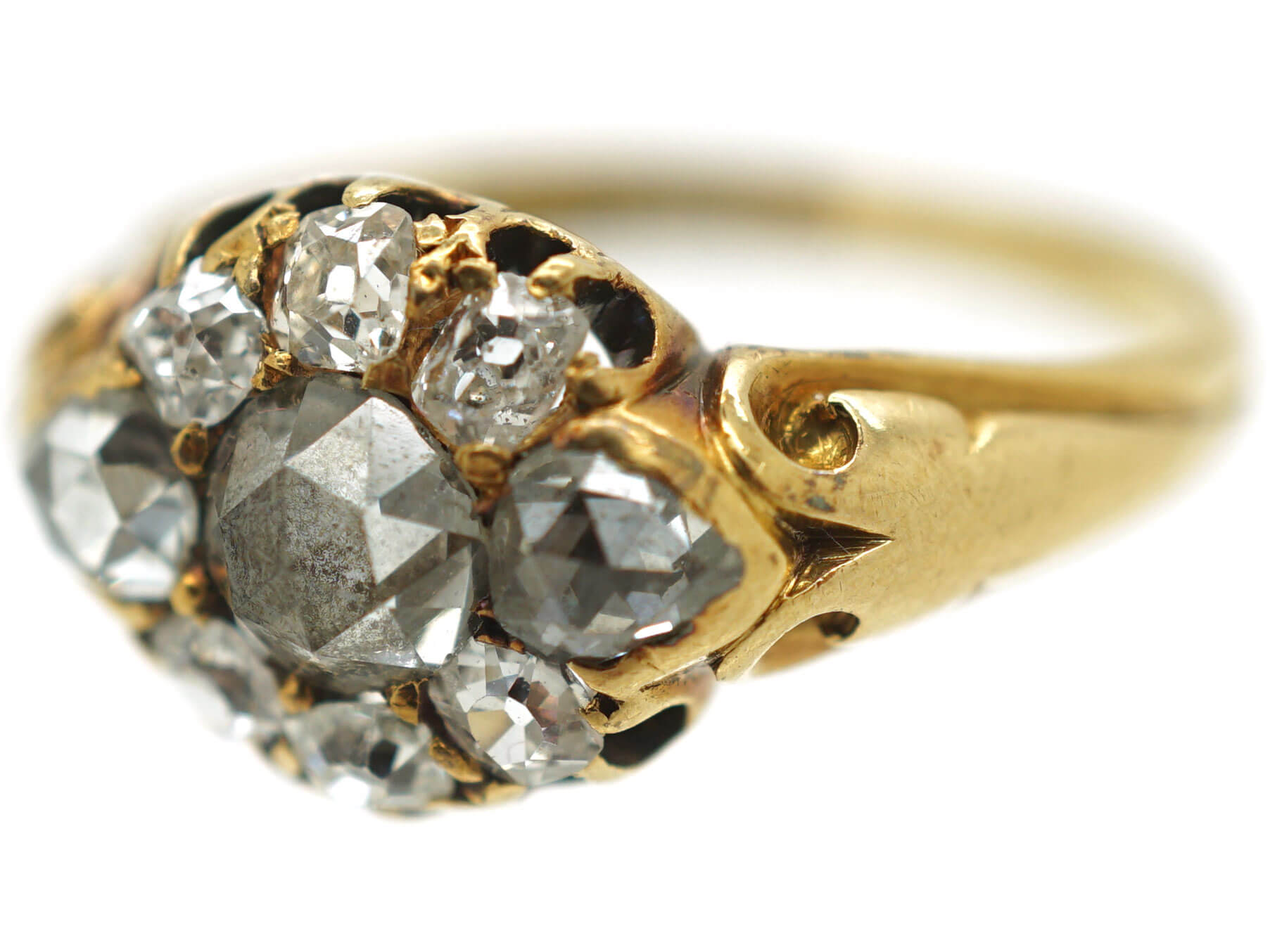 Victorian 18ct Gold Rose Diamond & Old Mine Cut Diamond Cluster Ring