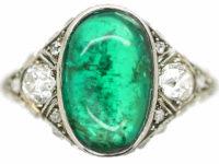 Art Deco Platinum Large Cabochon Emerald & Diamond Ring