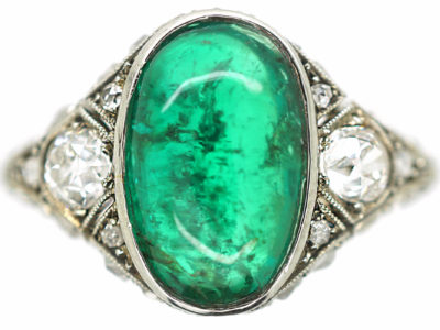 Art Deco Platinum Large Cabochon Emerald & Diamond Ring