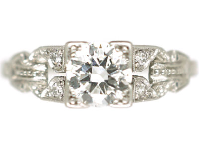 Art Deco Platinum Diamond Solitaire Ring with Diamond Set Pierced Shoulders