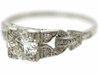 Art Deco Platinum Diamond Solitaire Ring with Diamond Set Pierced Shoulders