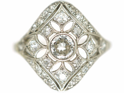 Art Deco French Platinum & Diamond Pierced Work Cluster Ring