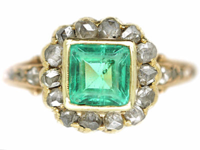 Edwardian 18ct Gold Square Cut Emerald & Rose Diamond Ring