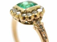 Edwardian 18ct Gold Square Cut Emerald & Rose Diamond Ring