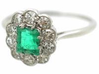 Edwardian 18ct White Gold & Platinum, Emerald & Diamond Cluster Ring
