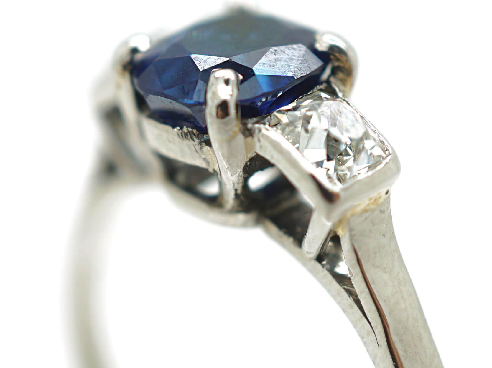 Art Deco Platinum Three Stone Sapphire & Diamond Ring