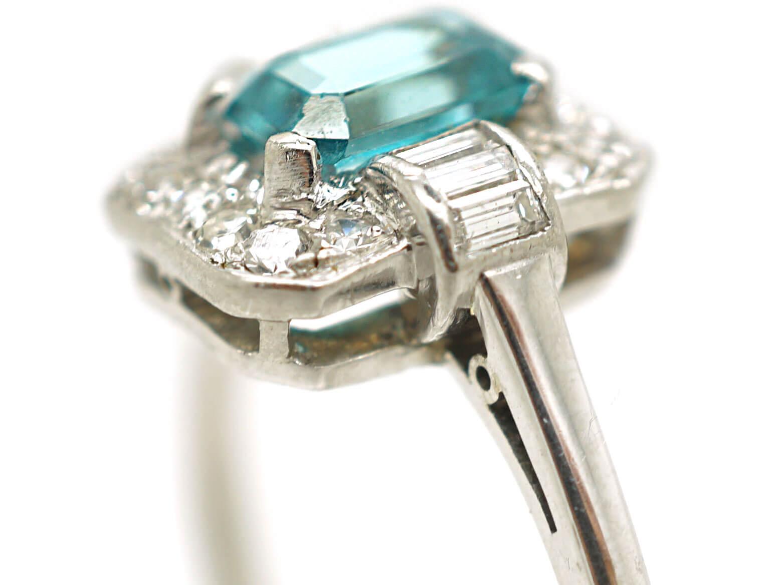 Platinum Art Deco Zircon & Diamond Ring by Birks of Canada