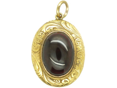 Victorian 15ct Gold Cabochon Garnet Locket Back Pendant
