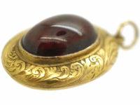 Victorian 15ct Gold Cabochon Garnet Locket Back Pendant