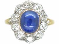 Edwardian 18ct Gold & Platinum Cabochon Sapphire & Diamond Cluster Ring