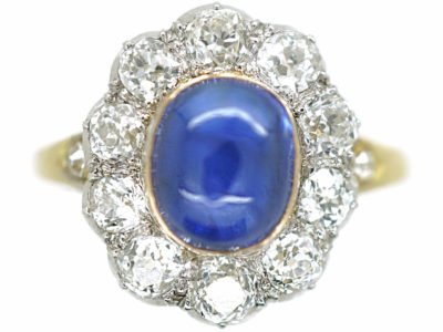 Edwardian 18ct Gold & Platinum Cabochon Sapphire & Diamond Cluster Ring