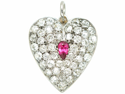 Edwardian 18ct white Gold Ruby & Diamond Heart Shaped Pendant